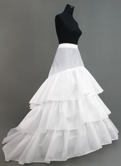 Women Nylon/Tulle Netting Chapel Train 3 Tiers Petticoats (037005375)