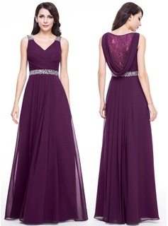 A-Line/Princess V-neck Floor-Length Chiffon Evening Dress With Lace Beading (017056118)