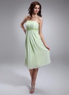 Empire Strapless Knee-Length Chiffon Maternity Bridesmaid Dress With Ruffle Beading Sequins (045022463)