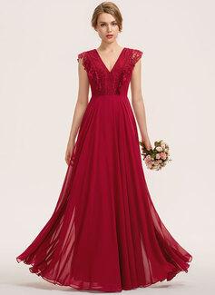 A-Line V-neck Floor-Length Chiffon Lace Bridesmaid Dress (007190705)