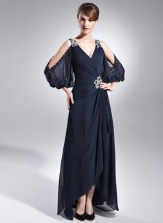 Трапеция V-образный асимметричный шифон Платье Для Матери Невесты с развальцовка Ниспадающие оборки (008005761)