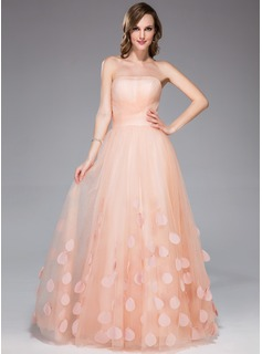 A-Line/Princess Strapless Floor-Length Tulle Holiday Dress With Ruffle Flower(s) (018047257)