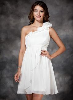 Empire One-Shoulder Short/Mini Chiffon Holiday Dress With Ruffle Flower(s) (020003254)