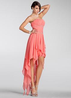 A-Line/Princess Strapless Asymmetrical Chiffon Holiday Dress With Beading Cascading Ruffles (020005298)
