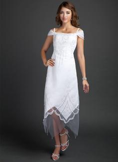 A-Line/Princess Off-the-Shoulder Tea-Length Satin Wedding Dress With Beading (002015354)