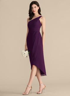 Платье-чехол Одно плечо асимметричный шифон Платье Подружки Невесты (007153315)