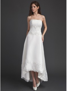 A-Line Strapless Asymmetrical Organza Wedding Dress With Ruffle Lace Beading Sequins (002011491)