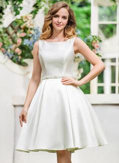 Vestidos princesa/ Formato A Decote redondo Coquetel Cetim Vestido de noiva com Beading lantejoulas (002052770)