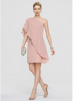 Платье-чехол Одно плечо Длина до колен шифон Коктейльные Платье с Ниспадающие оборки (016189346)
