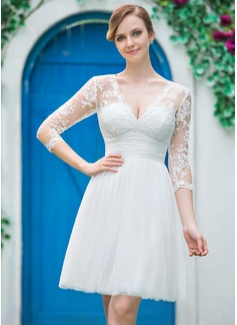 Vestidos princesa/ Formato A Decote V Coquetel Tule Renda Vestido de noiva com Pregueado Curvado (002042286)