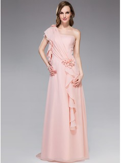 A-Line One-Shoulder Sweep Train Chiffon Holiday Dress With Beading Flower(s) Cascading Ruffles (020040795)