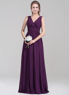 Império Decote V Longos Tecido de seda Vestido de madrinha com Pregueado (007072795)