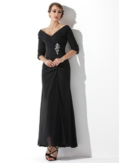 A-Line/Princess Off-the-Shoulder Ankle-Length Chiffon Mother of the Bride Dress With Ruffle Beading (008006097)