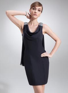 Платье-чехол Провиснутый Мини-платье шифон Коктейльные Платье с Бисер (016022557)