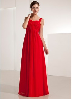 Império Coração Longos De chiffon Vestido de festa com Pregueado (017021123)