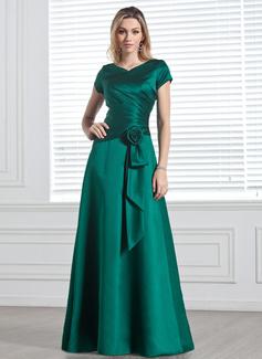 A-Line/Princess V-neck Floor-Length Satin Bridesmaid Dress With Ruffle Flower(s) (007001491)