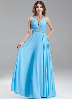 A-Line/Princess V-neck Floor-Length Chiffon Prom Dresses With Ruffle Beading Sequins (018004867)