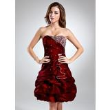 A-Line/Princess Sweetheart Knee-Length Taffeta Cocktail Dress With Ruffle Beading (016015529)