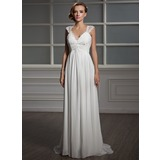 Empire V-neck Sweep Train Chiffon Tulle Wedding Dress With Ruffle Lace Beading (002006371)