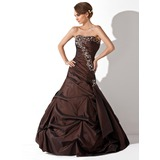 Trumpet/Mermaid Sweetheart Floor-Length Taffeta Quinceanera Dress With Ruffle Beading Sequins (021020646)