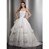 Ball-Gown Sweetheart Chapel Train Organza Wedding Dress With Lace Sash Bow(s) Cascading Ruffles (002012750)