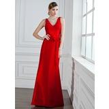 Trumpet/Mermaid V-neck Floor-Length Taffeta Bridesmaid Dress With Ruffle Bow(s) (007004161)