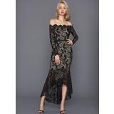 Trumpet/Mermaid Off-the-Shoulder Asymmetrical Lace Cocktail Dress (016108742)