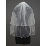 Two-tier Scalloped Edge Fingertip Bridal Veils With Beading/Sequin (006034427)