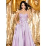 A-Line Sweetheart Sweep Train Satin Prom Dresses (018187226)