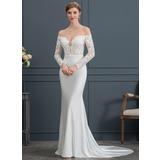 Trumpet/Mermaid Off-the-Shoulder Court Train Jersey Wedding Dress (002171960)