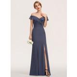 Sheath/Column Off-the-Shoulder Floor-Length Chiffon Bridesmaid Dress With Split Front Cascading Ruffles (007190680)