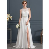 A-Line/Princess Scoop Neck Sweep Train Chiffon Wedding Dress With Beading Split Front (002171941)