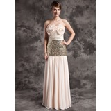 A-Line/Princess Strapless Floor-Length Chiffon Sequined Holiday Dress With Ruffle (020015030)