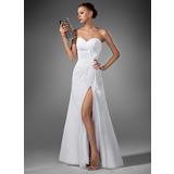 A-Line Sweetheart Floor-Length Chiffon Evening Dress With Ruffle Split Front (017022520)