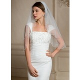 Two-tier Beaded Edge Elbow Bridal Veils With Beading (006024475)