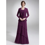 A-Line/Princess Scoop Neck Floor-Length Chiffon Mother of the Bride Dress With Beading Cascading Ruffles (008006140)