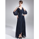 A-Line V-neck Asymmetrical Chiffon Mother of the Bride Dress With Beading Cascading Ruffles (008005761)