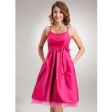 Empire Scoop Neck Knee-Length Taffeta Maternity Bridesmaid Dress With Ruffle Bow(s) (045022458)