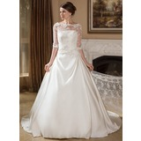 Ball-Gown/Princess Illusion Court Train Satin Wedding Dress With Ruffle (002004756)