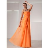 Empire Sweetheart Floor-Length Chiffon Holiday Dress With Ruffle (020025839)