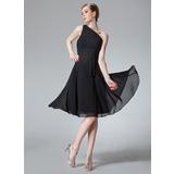 A-Line/Princess One-Shoulder Knee-Length Chiffon Bridesmaid Dress With Ruffle (007013958)