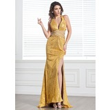 Trumpet/Mermaid V-neck Sweep Train Chiffon Sequined Holiday Dress With Beading Split Front (020026022)