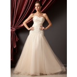 A-Line/Princess Sweetheart Floor-Length Tulle Quinceanera Dress With Ruffle Beading Bow(s) (021014228)