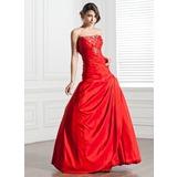 A-Line/Princess Strapless Floor-Length Taffeta Quinceanera Dress With Ruffle Beading Sequins (021005276)