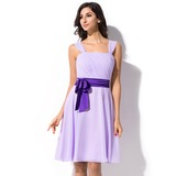 A-Line/Princess Knee-Length Chiffon Bridesmaid Dress With Ruffle Sash Bow(s) (007055192)