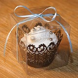 Simple Cubic Plastic Favor Boxes & Containers/Cupcake Boxes With Ribbons (Set of 12) (050025743)