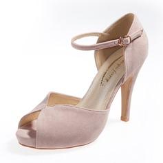 Suede Stiletto Heel Sandals Pumps Platform Peep Toe With Buckle shoes (087059849)