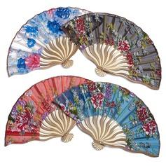 Floral Design Bamboo/Silk Hand fan (Set of 4) (051040143)
