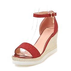 772682a26e1 Kvinner Glitrende Glitter Kile Hæl Sandaler Kiler Titte Tå med Spenne sko  (116154979)