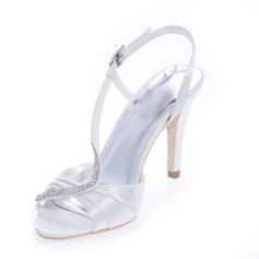 Женщины Атлас Высокий тонкий каблук Открытый мыс На каблуках Сандалии с горный хрусталь (047039110)